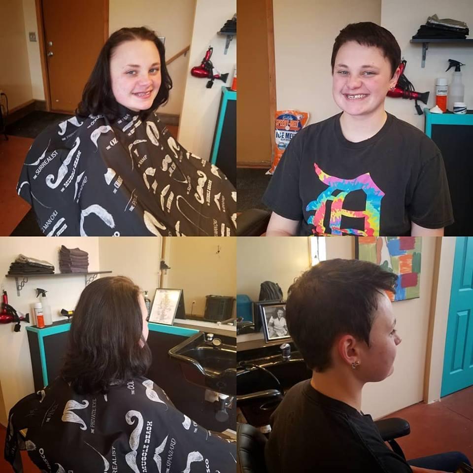 womens short hair cut tattoo parlor traverse city northern michigan beauty hair nail salon