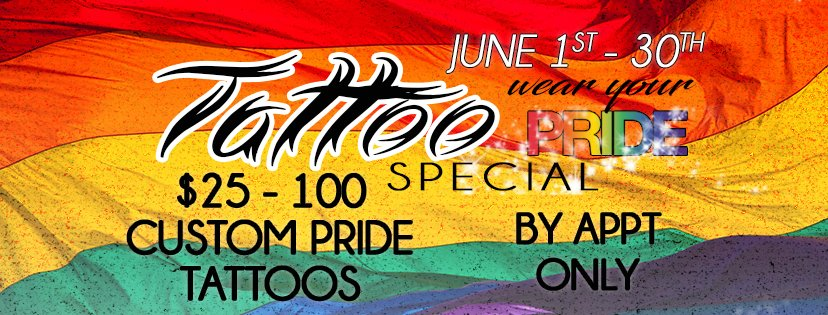 June 1, 2019 – June 30, 2019 – Custom Pride Tattoo Special!