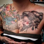 charles tattoo bearded lady and flowers chest