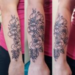 charles tattoo flowers with leaves lower arm
