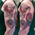 charles tattoo skull arm