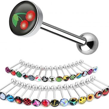 Tongue Barbell – 28 Designs To Choose From – 14g – Bar 16mm – Piercing Jewelry – Surgical Grade Stainless Steel