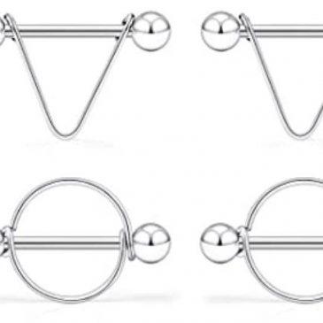 14G Surgical Steel Nipple Rings CZ Barbell Heart-Shape Nipplerings Piercing Nipple Shield Bar Jewelry 316L