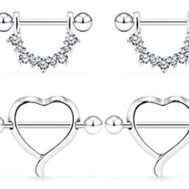 14G Surgical Steel Nipple Rings CZ Barbell Heart-Shape Nipplerings Piercing Nipple Shield Bar Jewelry 316L