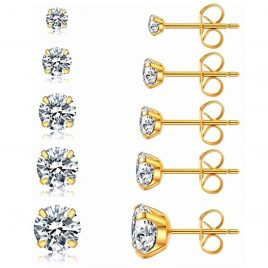 Stud Earrings Round Clear with Gold Set 3-8mm 20g – Piercing Jewelry – Surgical Grade Stainless Steel