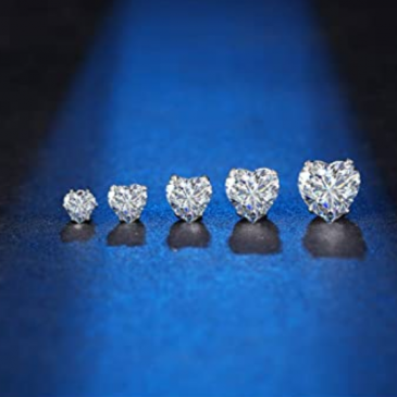 Stud Earrings Heart Clear Set 4-8mm 18g – Piercing Jewelry – Surgical Grade Stainless Steel