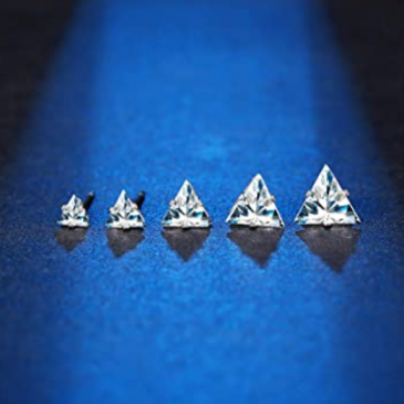 Stud Earrings Triangle Clear Set 4-8mm 18g – Piercing Jewelry – Surgical Grade Stainless Steel
