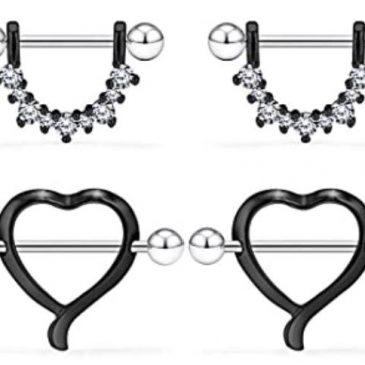 Black 14G Surgical Steel Nipple Rings CZ Barbell Heart-Shape Nipplerings Piercing Nipple Shield Bar Jewelry 2