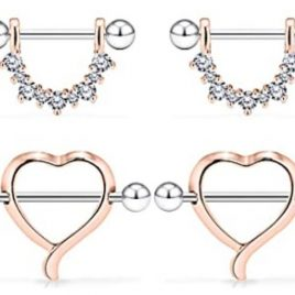 Rose Gold 14G Surgical Steel Nipple Rings CZ Barbell Heart-Shape Nipplerings Piercing Nipple Shield Bar Jewelry 2