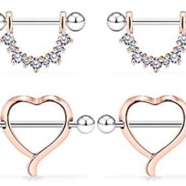 Rose Gold 14G Surgical Steel Nipple Rings CZ Barbell Heart-Shape Nipplerings Piercing Nipple Shield Bar Jewelry 2