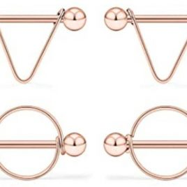 Rose Gold 14G Surgical Steel Nipple Rings CZ Barbell Heart-Shape Nipplerings Piercing Nipple Shield Bar Jewelry