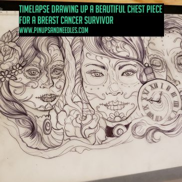 Timelapse Drawing Up A Beautiful Chest Piece For A Breast Cancer Survivor With Baby Handz Presented By Pinups And Needles