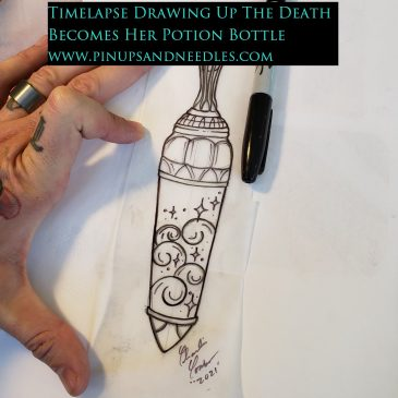 Timelapse Drawing Up The Death Becomes Her Potion Bottle With Baby Handz Presented By Pinups And Needles
