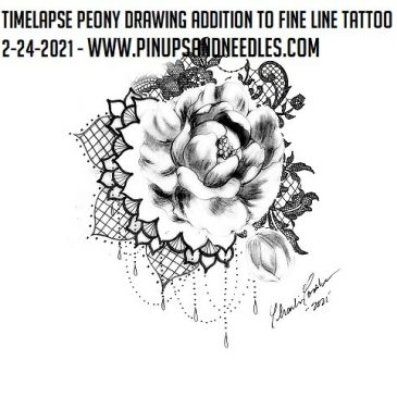 Timelapse Peony Drawing Addition To Fine Line Tattoo