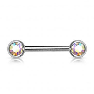 Double Front Facing Gem 316L Surgical Steel Barbell/Nipple Bar 14g – 16mm
