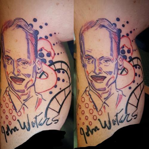 Inkedjohn waters tattoo leg LI
