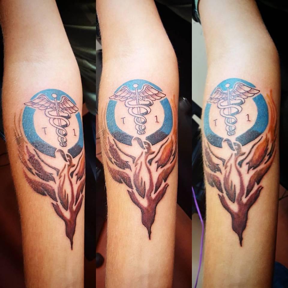 caleb ryan forearm tattoo phoenix diabetes