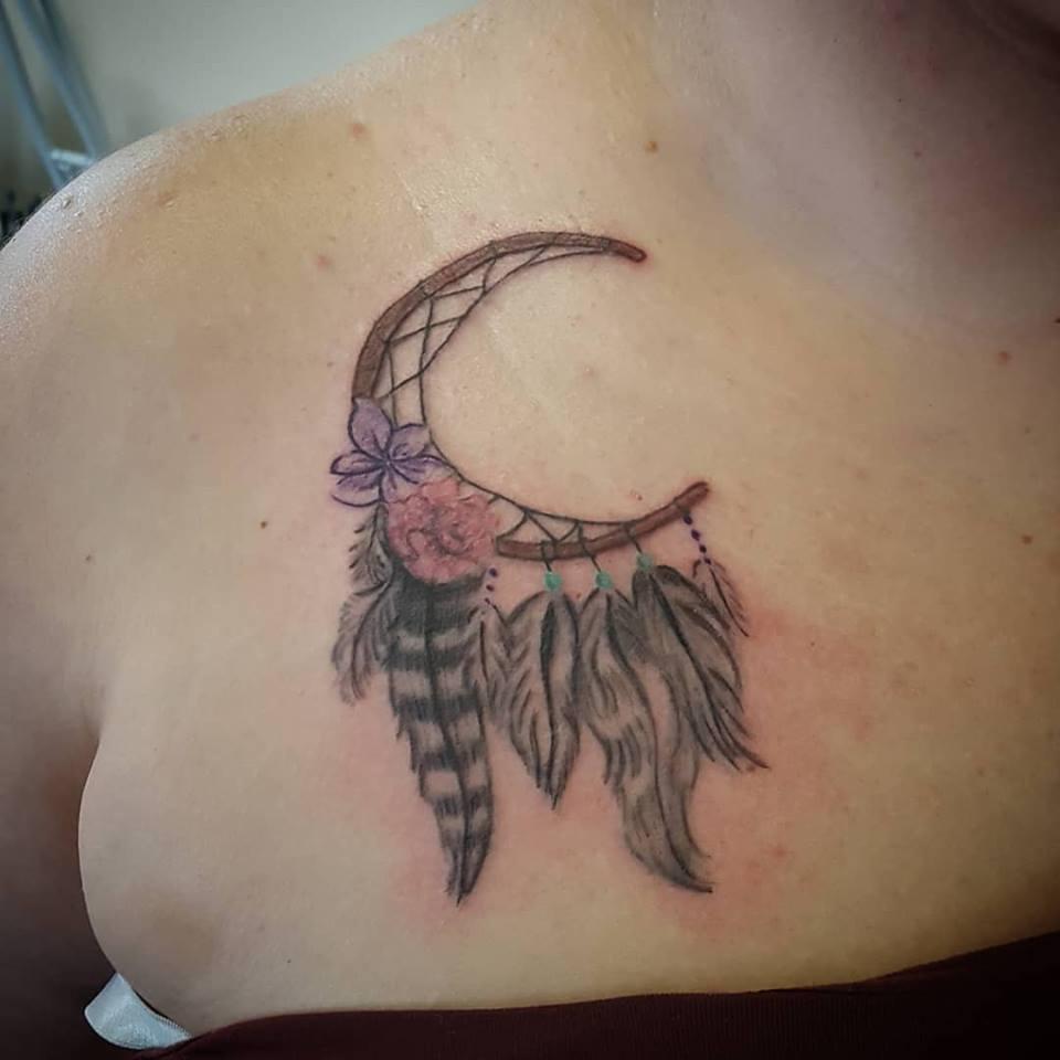 tamra edgington dreamcatcher chest tattoo parlor traverse city northern michigan beauty hair nail salon